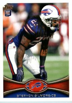 2012 Topps Football Card # 154 Stephon Gilmore RC - Buffalo Bills (RC - Rookie Card) (NFL Trading Card) by Topps. $4.25. Card is in MINT condition!. Look for thousands of other great sportscards of your favorite player or team. Card shipped in Top Load and/or Soft sleeve to protect it during shipping. Single 2012 Topps Football Trading Card. NOTE: Stock Photo Used. Contact seller if there is no image or you have questions. 2012 Topps Football Card # 154 Stephon Gilmore...
