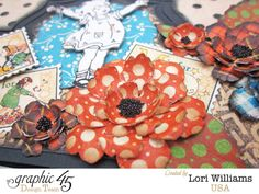 Beautiful flowers on this An ABC Primer Graphic 45 Sizzix easel card by Lori Williams #graphic45