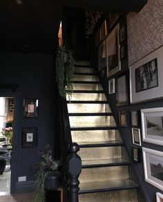 Dark hallway and dramatic gold staircases // painting the steps a metallic colour Interior Pastel, Interior Simple, Home Interior Design, Natural Interior, Hallway Decorating, Interior Decorating, Decorating Ideas, Hallway Designs, Hallway Ideas