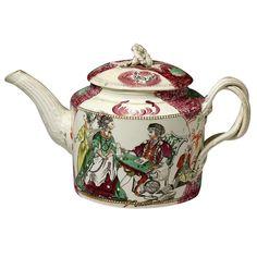 1stdibs   Antique Staffordshire pottery creamware teapot by Greatbach circa 1780