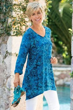 Tortuga Tunic  Beautiful batik in watery blue hues stirs dreams of the tropics in this ultra-soft challis tunic. Easy pullover styling with long sleeves, a high-low hem and br