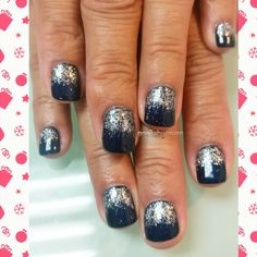 Holiday gel manicure blue is The Abyss by IBD Just Gel Polish. .with silver glitter ombre