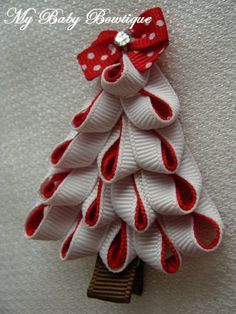 Toddler Girls Hair Bow  Red and White  Christmas by MyBabyBowtique, $3.25