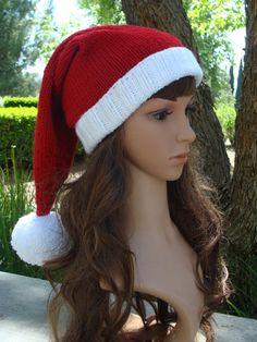 ec70812f44db5 DIY- Knitting PATTERN  34  Ho Ho Ho Santa Knit Hat with fold up brim and  Pom- pom Pattern