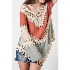 Sexy V-Neck Long Sleeve Hollow Out Asymmetrical Women's Cover Up