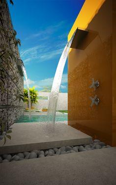 Dusche Garten modern wasserfall hochglanz gelb