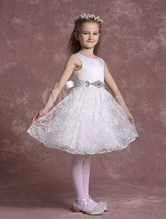White Lace Flower Girl Dress with Embellished Sash Lace Flower Girls, Flower Girl Dresses, Girl Clown Costume, Sash, White Lace, Costumes, Decoration, Wedding Dresses, Flowers