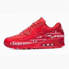 Authentic Nike Air Max 90 shoes featuring a distinct Supreme design on the side. Turn heads and make people notice you twice whenever you wear these Supreme cu Air Max Sneakers, Shoes Sneakers, Sneakers Style, Sneakers Fashion, Supreme Nyc, Nike Max, Sneaker Art, Nike Sportswear, Black Nikes