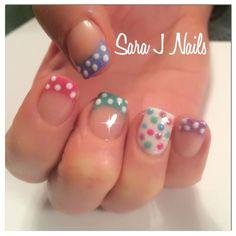 Polka dot pastel acrylic nail design