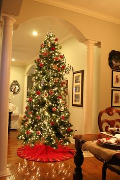 Red and green Christmas tree.