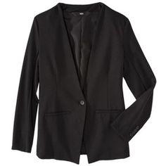 Mossimo® Women's Collarless Ponte Blazer - Black Foil