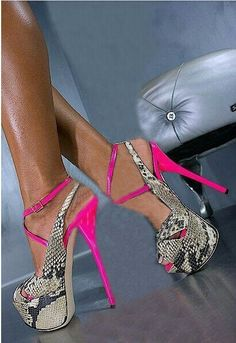 Nice All-match Platform Sandals Women Snakeskin Pink High Heels Mixed Colors Buckle Stilettos Women Pumps Shoes Sapato Feminino Hot Heels, Sexy High Heels, Pink Heels, Cute Shoes, Me Too Shoes, Heeled Boots, Shoe Boots, Crazy Shoes, Beautiful Shoes
