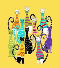 Kids Art 11x14 Yellow  Cats Illustration  by MyDifferentStrokes, $30.00