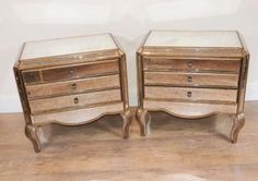 Pair-Deco-Mirrored-Chest-Drawers-Commodes-Bedside-Tables
