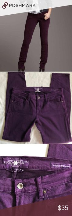 "Lucky Brand Purple Charlie Super Skinny Jeans Super cute and comfy Lucky Brand Super Skinny Jeans. Beautiful Purple color. Size 28. Stretchy fit. 16"" waist 8.5"" rise 29"" inseam. Front and back pockets . In great condition. Feel free to ask questions or bundle to save! Thanks for shopping! Lucky Brand Jeans Skinny"