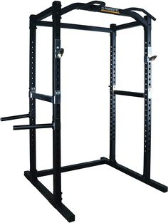 Powertec Fitness Work Bench Power Rack, Black: The power rack comes standard with new and improved chin up bars and Olympic safety catches. It also features the ability to add a wide variety of power rack accessories.
