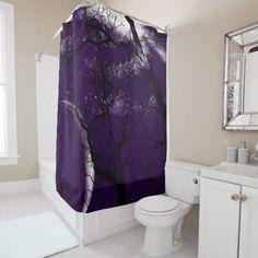 Shower curtain abstract purple moon tree