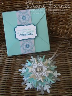Stampin Up Festive Flurry Christmas ornament by Di Barnes tutorial