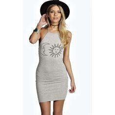 Boohoo Sarah Sun and Moon Bodycon Dress ($20) ❤ liked on Polyvore featuring dresses, grey marl, boho dress, polka dot maxi dress, floral print maxi dress, bohemian maxi dress and floral maxi dress