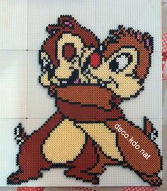 Chip n' Dale hama beads by Deco. Perler Bead Templates, Pearler Bead Patterns, Perler Patterns, Beaded Cross Stitch, Cross Stitch Patterns, Hama Beads Disney, Pearl Crafts, Pearl Beads Pattern, Hama Beads Design