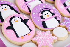 Wonderfully adorable Pink and Purple Penguin Cookies from Glorious Treats. #cookies #decorated #Christmas #food #girly #cute #penguins #pink #purple #winter