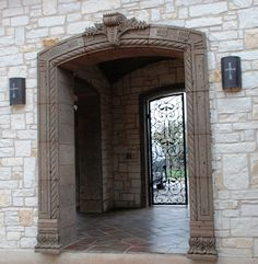 Cantera Stone And Copper Sconces At An Entry Wow Mexican Hacienda Decor Marble