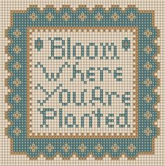 cross stitch chart, Bloom where you are planted