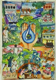 Central Ground Water Board, Ministry of Water Resources, Government of India Poster Drawing, Nature Art Painting, Drawing Competition, Save Water Poster Drawing, Water Drawing, Save Water Drawing, Earth Drawings, Water Painting, Environment Painting