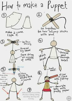 How to make a string puppet: You will need: Thin cardboard (cut into shape in step Lollipop sticks Wool Strong cotton thread Unvarnished big wooden bead Small wooden drop shaped beads Felt tip pen Pretty papers (marionettes, how-to) Paper Puppets, Hand Puppets, Finger Puppets, Diy For Kids, Crafts For Kids, Arts And Crafts, Puppets For Kids, Marionette Puppet, Puppet Crafts