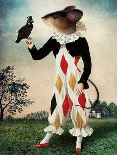 Art - Surrealism - Catrin Welz-Stein - The Harlequin Mouse and the Falcon Claudia Tremblay, Harlequin Pattern, Image Originale, Pop Surrealism, Wassily Kandinsky, Surreal Art, Tarot Decks, Digital Image, Pet Portraits