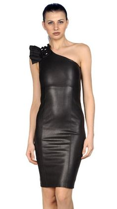 40b709e127 Genuine Lambskin Solid Leather Women Mini Dress Party Hot Sexy Taylor Made