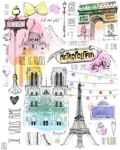 París- something about the black pen illustration with color washes that is lovely- casual, cheerful- could be good for colateral graphics (signage, menu, timeline, etc?)