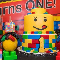 The birthday cake at this Lego Inspired 1st Birthday Party is so much fun!! See more party ideas and share yours at CatchMyParty.com #lego #1stbirthday