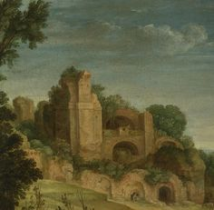 PAUL BRIL LANDSCAPE WITH A HUNTING PARTY AND ROMAN RUINS