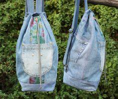 90s denim backpack upcycled vintage floral print blue jeans drawstring bucket…