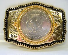 b4cd36b7a2f6 SMALL SIZE SILVER DOLLAR HOLDER BELT BUCKLE WITH US DOLLAR COIN. Country  Western 13 · Boucles de ceinture