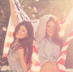 Flying the flag: All-American girls Kendall and Kylie Jenner posted a picture of themselves on their website