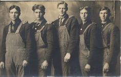 1910s--love the neckties under the coveralls.