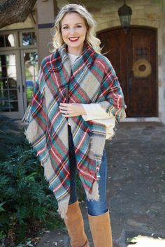 Ten Ways To Wear a Blanket Scarf Busbee Style Erin Busbee shows you ten simple ways to tie your scarf this fallwinter plaid scarves Blanket Scarf Outfit, How To Wear A Blanket Scarf, Red Blanket, Ways To Wear A Scarf, How To Wear Scarves, Plaid Scarf Outfit, Busbee Style, Fall Outfits, Cute Outfits