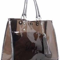 See Thru 2-in-1 Bag See Thru material Faux leather trim Magnetic snap closure Silver-tone hardware Detachable shoulder strap L 15 * H 11.5 * W 5 (7 D)