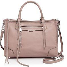 Rebecca Minkoff Regan Satchel ($345) ❤ liked on Polyvore featuring bags, handbags, rebecca minkoff purse, studded handbags, studded satchel handbag, brown satchel purse and studded satchel