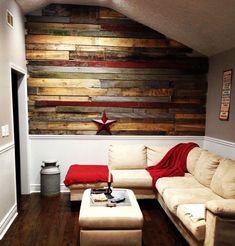Wandgestaltung Ideen mit Paletten und akzent in Rot