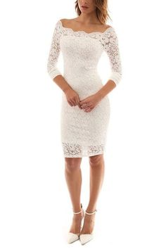 Womens Off Shoulder Twin Set Floral Lace Long Sleeve Bodycon Cocktail Party Dress
