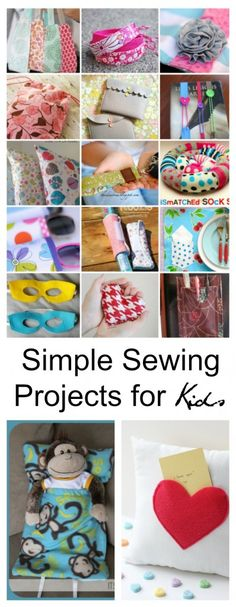 Sewing For Beginners Learning Simple-Sewing-Projects-Kids-Pin - With these Simple Sewing Projects for Kids you can choose a project a week and by the end of the summer your kids will have lots of handmade gifts to give. Easy Sewing Projects, Sewing Projects For Beginners, Sewing Hacks, Sewing Tutorials, Sewing Crafts, Sewing Tips, Knitting Projects, Simple Projects, Sewing Art