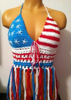 Crochet American Flag Top with Lace up back  Made To by vikni, $44.50