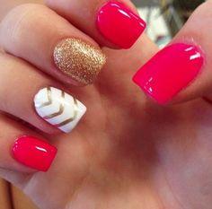 Chevron Nails -                                                                                          Red, White, and Gold Glitter with Chevron Nail Art Design
