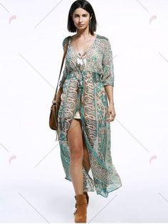 Bohemian V-Neck 3/4 Sleeve Tribal Print High Slit Women's Maxi Dress - COLORMIX XL