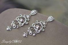 Swarovski Bridal Earrings Crystal  Wedding by simplychic93 on Etsy