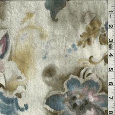 Ivory Floral Velour - Discount Fabrics