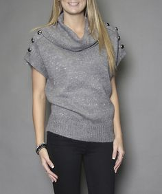 Cowl neck sweater with button detail